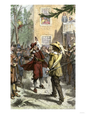Nathaniel Bacon Confronting Governor Berkeley in Jamestown, 1676