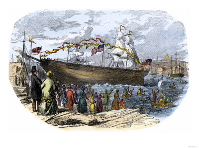 The launch of Flying Cloud in Bostin 1800s.