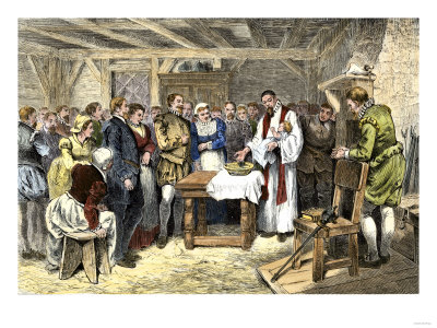 Baptism of Virginia Dare, the First English Child Born in the New World, Roanoke Colony, 1587