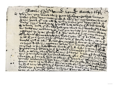 Record of Tituba's Testimony at the Salem Witchcraft Trials, 1690s