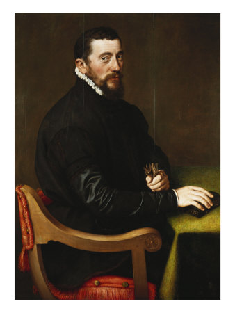 Portrait of a Gentleman, Aged 44 Seated at a Table, Three Quarter Length, in Black Dress