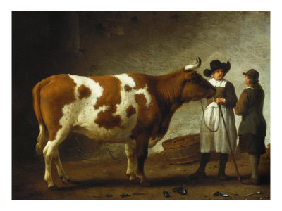 Butcher with a Bull Giclee Print