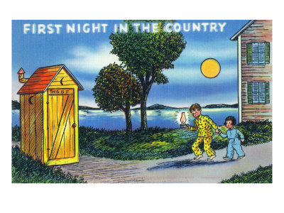 Couple of Children's First Night in Country, Having to Use an Outhouse
