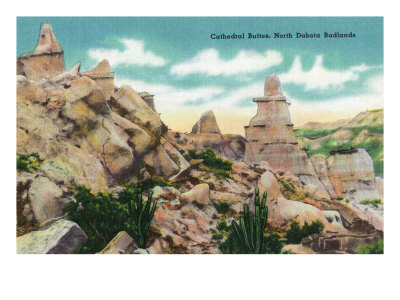 North Dakota, T. Roosevelt National Park View of the Cathedral Buttes in the Badlands
