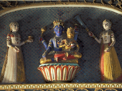 Hindu gods Vishnu and Laxmi in Half Moon Palace, India