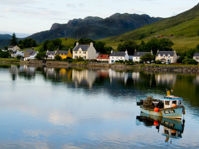 Village of Dornie with Reflections and Boat, Western Highlands, Scotland