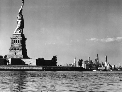 View of the Statue of Liberty and the Sklyline of the City