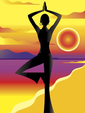 Woman Doing Yoga on Beach at Sunset
