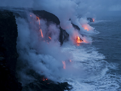 Lava Flows into the Ocean, Hawaii Volcanoes National Park, Hawaii