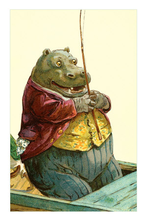 Hippo in Three-Piece Suit Fishing