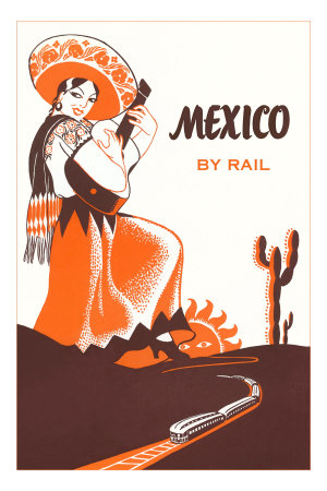 Mexcio by Rail, Senorita with Guitar Premium Poster