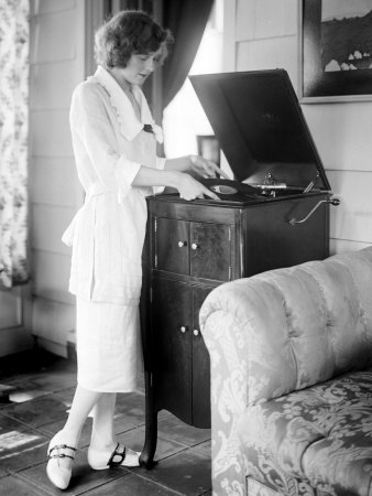 Woman Playing a Record, 1930s