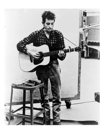 Bob Dylan Playing Guitar and Harmonica into Microphone. 1965 Posters