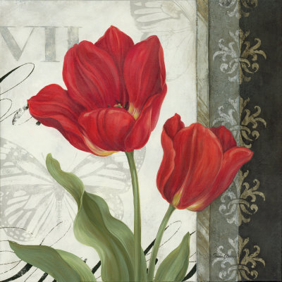 Contemporary decorative Red tulip painting with damask - art print poster wall art