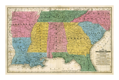 Map of the Southern States, c.1839