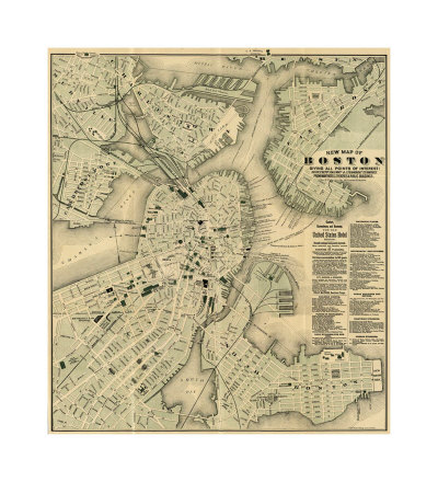 Map of Boston from c 1884.
