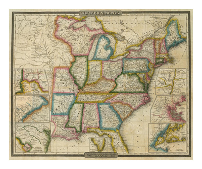 1833 Map of the United States by Cartographer David H. Burr.