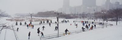 Group of People Ice Skating in a Park, Bicentennial Park, Chicago, Cook County, Illinois, USA