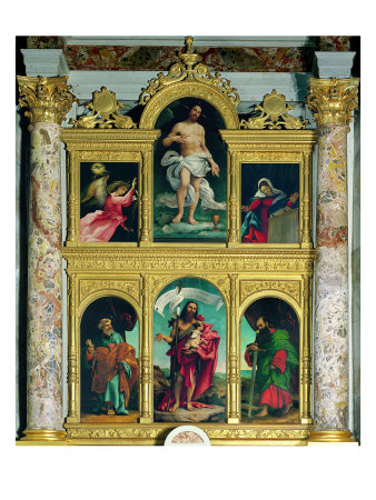 Polyptych, Annunciating Angel, Redeemer, Virgin Annunciate, St Peter, St John and St Paul