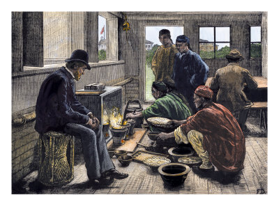 Boiling and testing opium.