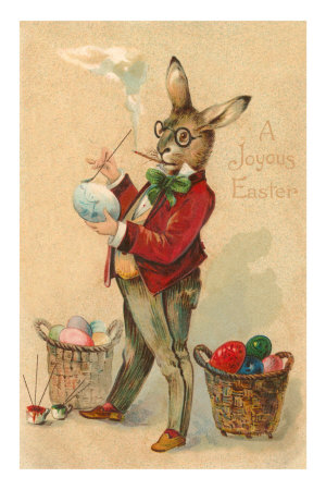 Joyous Easter, Spectacled Rabbit Painting Egg