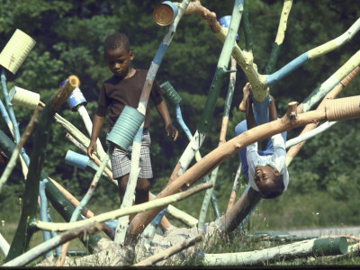 African American Children Playing on Improvised Jungle Gym at the Mt. Pisgah Head Start Center