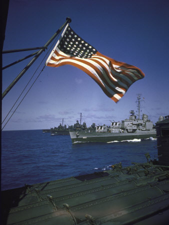 American Flag Flying over Us Navy Ships at Sea