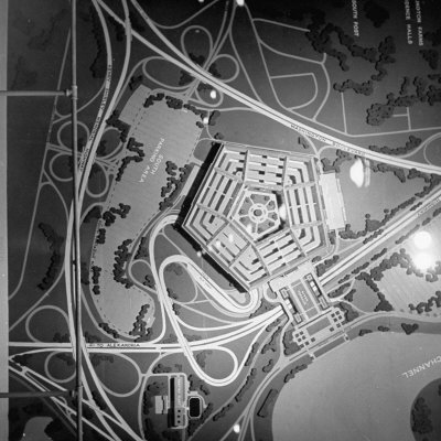 Overhead View of a Model of the Pentagon Building