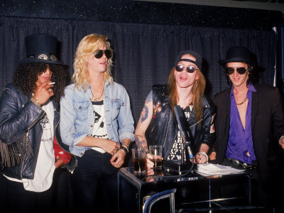 Buy Members of the Rock Group Guns N' Roses Slash, Duff Mckagan, Axl Rose and Izzy Stradlin at AllPosters.com