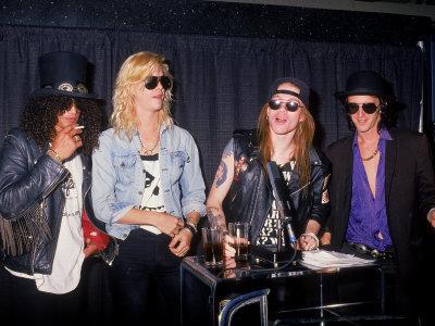 Buy Members of the Rock Group Guns N' Roses Slash, Duff Mckagan, Axl Rose and Izzy Stradlin at AllPosters.com