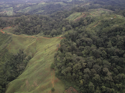 Aerial View of Deforestation of a Tropical Rainforest, Costa Rica, Central America