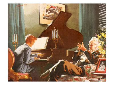 A boy dressed in a gray suit plays a grand piano. To his right an old man in a suit sits listening with tented fingers in a flowered armchair. A candelabra is on the piano and the room has green curtains and shutters