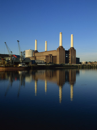 Battersea Power Station reflected