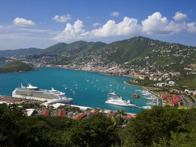Charlotte Amalie and Cruise Ship Dock of Havensight, St. Thomas, U.S. Virgin Islands, West Indies
