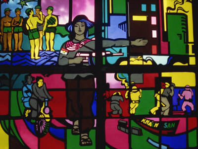 Stained Glass in the Army Museum in Hanoi, North Vietnam, Indochina, Southeast Asia