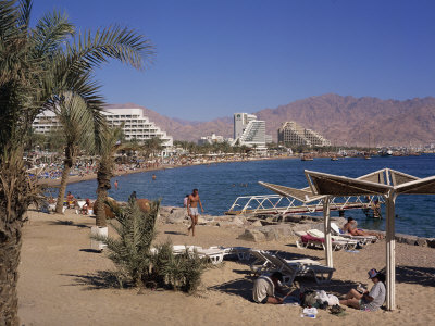 Beach and Hotels, Eilat, Israel ...