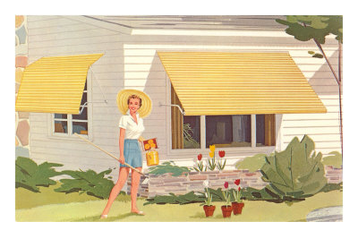 Lady with Awning and Tulips