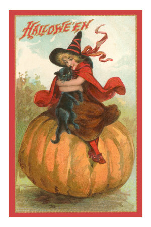 Halloween, Victorian Witch on Pumpkin