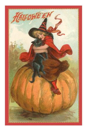 Halloween, Victorian Witch on Pumpkin