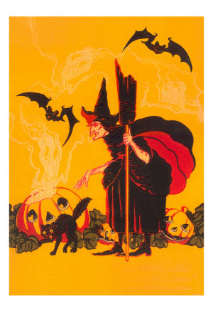 Witch with Goblin Emerging from Pumpkin