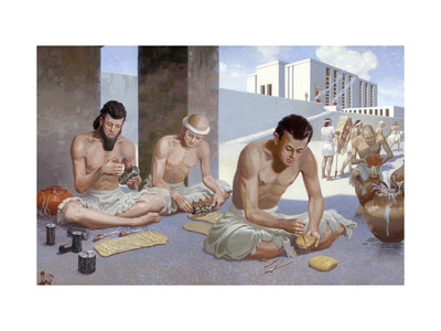 Men in Temple Yard Make Cylinder Seals and Mark Clay with Stylus