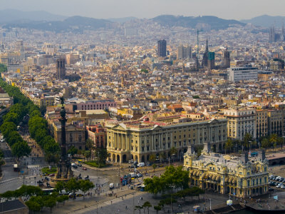 Barcelona with Tree-Lined Las ...