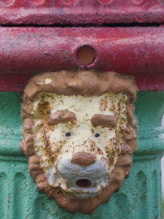 Detail of a Lion Face on a Fire Hydrant in Stanley, Falkland Islands