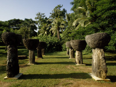 Stand of Ancient Traditional Micronesian Stone Carvings