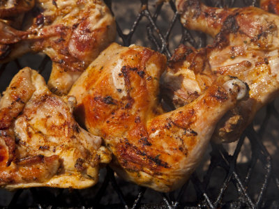 Close-up of Chicken Being Grilled
