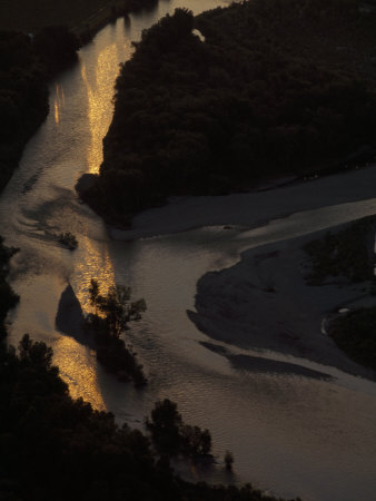 Aerial View of the Yellowstone River at Twilight
