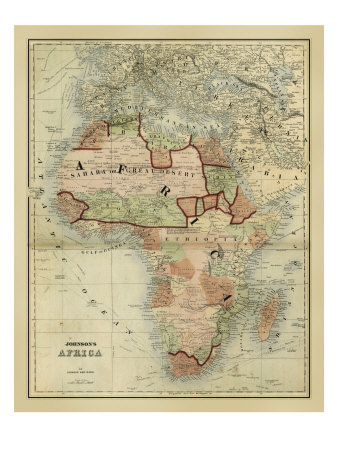 Historical map of Africa.