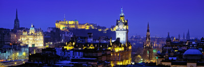 Buildings Lit Up at Night with a Castle in the Background, Edinburgh Castle, Edinburgh, Scotland