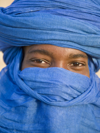 Timbuktu, the Eyes of a Tuareg Man in His Blue Turban at Timbuktu, Mali