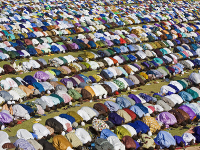 Gathering of Muslim Men Pray to Allah, End of Muslim Holy Month of Ramadan, Mali